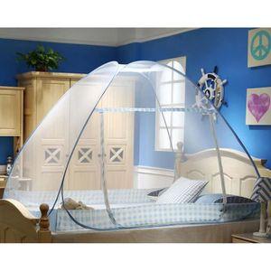 Moskitonetz Bett, Faltbares Bett-Moskitonetz, Tragbares Reise-moskitonetz, Einzeltür-Moskito-Campingvorhang, 200cm*100*100-Blauer Rand
