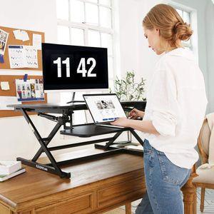 SANODESK Sitz Steh Schreibtisch Stehpult Höhenverstellbarer Schreibtisch 68 * 59cm Schreibtischaufsatz Doppelmonitor-Riser