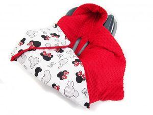 Doppelseitige Einschlagdecke 90x90 cm für Babyschale Autokindersitz Buggy Kinderwagen 90x90cm - universal baby Decke (z.B. Maxi-Cosi/Cybex/Römer), Muster: Mickey Mouse weiss -Minky rot