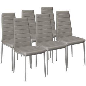 tectake 6 Esszimmerstühle, Kunstleder - grau