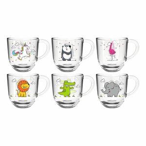 Leonardo Tasse Bambini 6 Stück sortiert, Glastassen, Kinderbecher, Kalk-Natron Glas, mehrfarbig, 280 ml, 022904