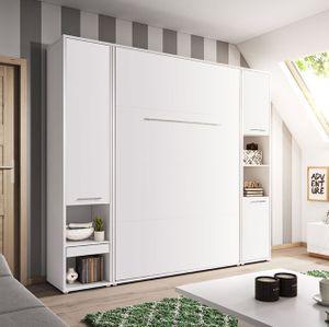 Mirjan24 Schlafzimmer-Set Concept Pro Vertical, Wandklappbett und 2 Regale, Bettschrank, Wandbett mit Lattenrost (Weiß Matt / Weiß Matt, CP-01 (140x200))