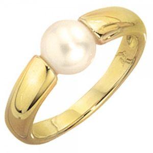 JOBO Damen Ring 333 Gold Gelbgold 1 Süßwasser Perle Goldring Größe 60