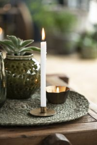 IB Laursen 12er Set schmale hohe Kerzen weiß lang Leuchter Spitz Tafel Stab 20cm
