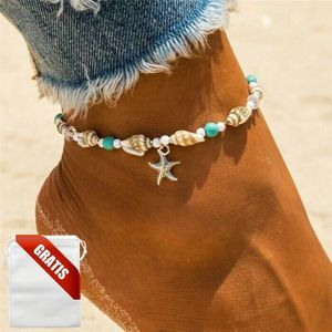 Fußkettchen Damen Stern Muschel Seestern Silber Türkis Fußkette Fusskette Frauen