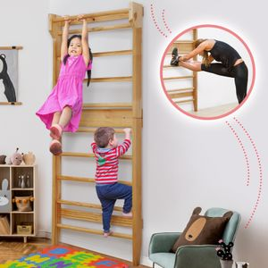 Physionics® Sprossenwand aus Holz - für Kinder und Erwachsene, 195 x 80 x 14 cm, bis ca 100 kg Max. belastbar - Kletterwand, Fitness Turnwand, Klettergerüst, Schwedische Leiter, Sportgerät