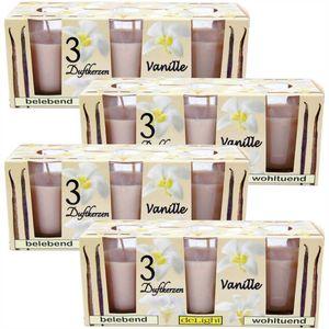 Duftkerzen Classic 12er Pack im Glas, lange Brenndauer und angenehmer Duft ( Vanille )