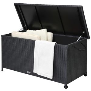 Auflagenbox 122x56x61 cm Poly Rattan Wasserdicht Rollbar 2 Gasdruckfedern Kissen Garten Box Truhe schwarz