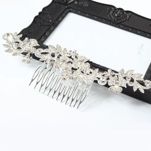 Metal Haarklammer Feder in der Farbe Silber Straß