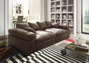 Big Sofa Couchgarnitur Megasofa Riesensofa AREZZO - Vintage Braun
