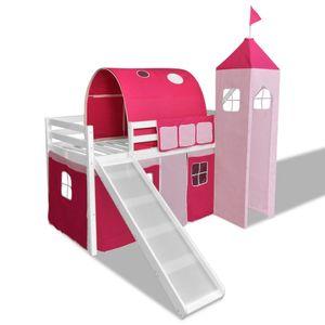 vidaXL Kinderbett Kinderhochbett Prinzessin Bett+Rutsche