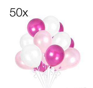 50x Luftballons Mix Ballons Balloons Luftballon Ballon pink, rosa, weiß Weiss Latexballons Babyparty für Helium und Luft (pink-rosa-weiß-Mix)