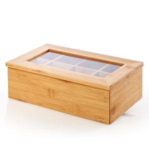 Lumaland Cuisine Teebox aus Bambus mit 8 Fächern ca. 28 x 16 x 9 cm nachhaltiges Material praktisch dekorativ edel