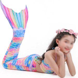 3Pcs / Set Mädchen Badebekleidung Bademode Meerjungfrau Schwanz Swimmable Schwimmen,Farbe:Bunt,Größe:110