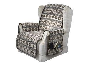 Armlehnen- und Sesselschoner Set mit 2 Taschen MALMÖ Farbe: natur-braun Schurwolle