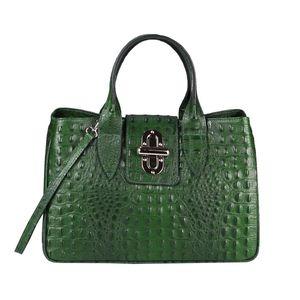 OBC  Italy Damen Echt Leder Tasche Kroko-Prägung Business Shopper Aktentasche Schultertasche Handtasche Ledertasche Umhängetasche Tote Bag Grün (Kroko-Prägung)
