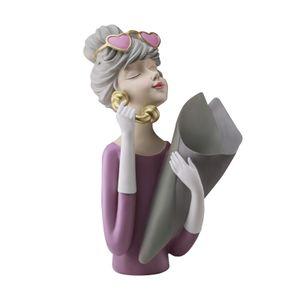 Moderne Mädchen Figurine Getrocknete Blume Vase Bouquet Ornamente Skulptur Statue Wohnzimmer Blume Anordnung Wohnkultur