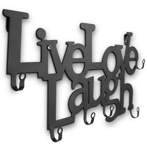 MIADOMODO® Metall Wandgarderobe mit 6 Haken - 48 x 23 x 3 cm – Live, Love, Laugh - Garderobenhaken, Wandhaken, Mehrzweckhaken, Kleiderhaken, Hakenleiste