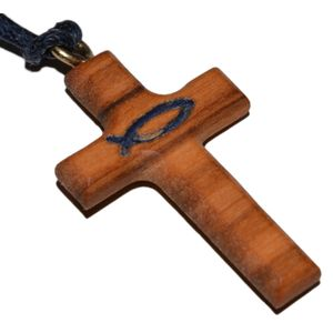 Umhängekreuz Olivenholz Kreuz Anhänger Fisch Ichthys blau, 3cm