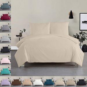 Bettwäsche Bettgarnitur Bettbezug 3 teilig 200 x 200 cm Sand 100% Baumwolle