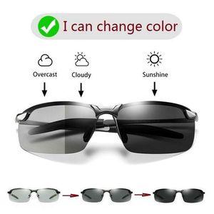 Unisex Sonnenbrille Polarisierte photochrome Sonnenbrille Anti UV | Schwarzer Rahmen Verf?rbungslinse