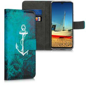 kwmobile Wallet Case kompatibel mit Huawei P30 Lite - Hülle Kunstleder mit Kartenfächern Stand Anker Landkarte Weiß Blau