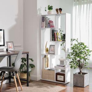 VASAGLE Bücherregal 70 x 24 x 160 cm, 6 Fächer, modernes Standregal, Wohnzimmerregal, Büroregal, Pflanzenregal, weiß LBC64WT