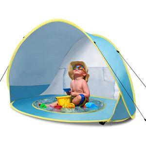 Baby Strandmuschel, Strandzelt, Pop-up Baby Strand Zelt für Kleinkinder 0-3 Jahre, UV-Schutz UPF 50+, Hellblau