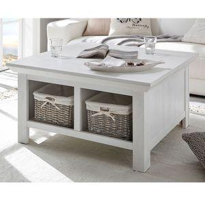 Couchtisch WINGST-61 Truhen-Tisch im Landhaus Stil Nachbildung Pinie weiß Nb. mit Klappe und Stauraumfach B/H/T ca. 93x50x93cm