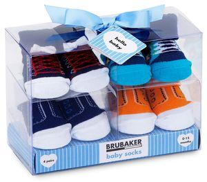 BRUBAKER 4 Paar Babysocken Jungen 0-12 Monate - Fun Sneaker