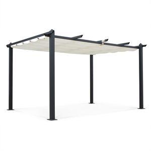 Aluminium-Pergola - Condate 3x4m - Ecru Stoff - Laube ideal für Ihre Terrasse, verstellbares Dach, Stoff-Faltdach, Aluminiumgestell