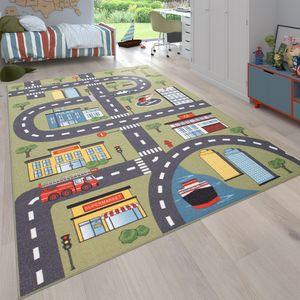Teppich Kinderzimmer Kinderteppich Spielteppich Straßen Und Auto Motiv Grün Grau, Grösse:160x220 cm