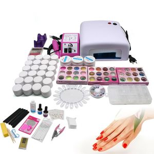 25tlg Profi Nagelstudio Set UV Lampe Gel Polish Nail Art Kit Farbgele Nailart Set Nagelset Starterset Art Nagelfräser + 36W Lampentrockner Tool Maniküre