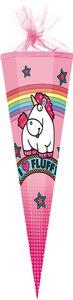 """Schultüte 85 cm 6-eckig """"Fluffy"""" für Mädchen mit Tüllverschluss/Textilborte"""