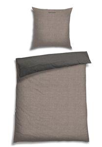 Schiesser Wendebettwäsche Doubleface Silber-Anthrazit, 100% Baumwolle, Größe: 135 x 200 cm + 80 x 80 cm