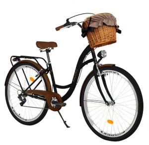 Milord Komfort Fahrrad Mit Weidenkorb Damenfahrrad, 26 Zoll, Schwarz-Braun, 7 Gang Shimano