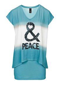 Heine - Best Connections Damen 2-in-1-Shirt mit Pailletten, türkis, Größe:40
