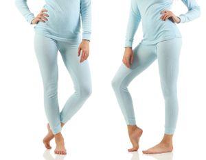 Unterwäsche Thermo, Farbe:2x Damen Unterhose hellblau, Gr. :40/42, Materialmix:50% Baumwolle & 50% Polyester