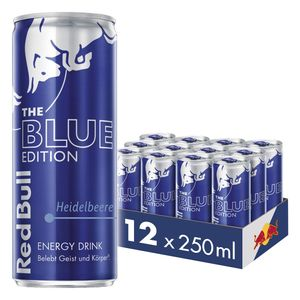 12 Dosen Red Bull Energy Drink, Heidelbeere, Blue Edition, 12 x 250 ml, € 3.00 Einweg-Pfand im Preis inbegriffen