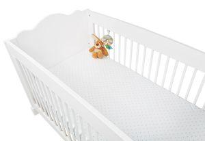 Spannbetttücher für Kinderbetten im Doppelpack 'Sternchen', Jersey, hellblau und Uni, weiß
