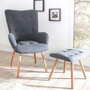 Design Sessel SCANDINAVIA grau inkl. Hocker Retro-Look Stuhl Wohnzimmer