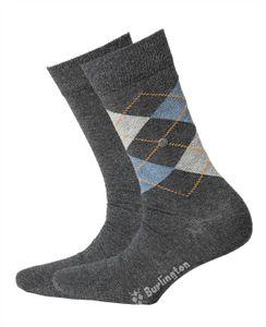 Burlington Herren Socken Everyday 2er Pack - Rautenmuster, Uni, Onesize, 40-46 Dunkelgrau