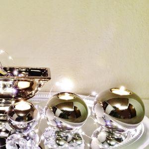 3er Set Teelichthalter SILBER 3 Größen Keramik Teelicht Kerzenhalter Deko Shabby