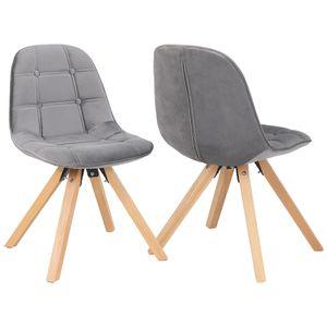 Duhome 2er Set Esszimmerstuhl aus Stoff Samt Polsterstuhl Retro-Design in grau