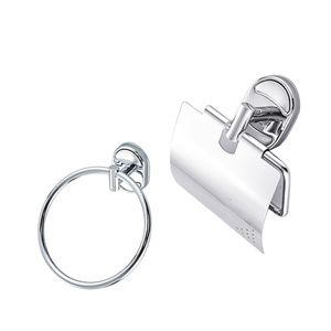 Badaccessoires Wandbefestigung Toiletten-Papierhalter mit Deckel + Handtuchring