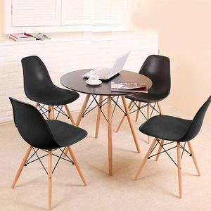 Esstisch mit 4 Stühlen Schwarz Esszimmer Essgruppe(Runde) 70x70x75cm lässiger Tisch |skandinavischer Stil | MDF