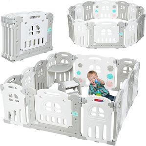 Faltbares Laufgitter mit Tisch & Hocker, Baby Laufstall, Absperrgitter, Krabbelgitter, Schutzgitter aus Kunststoff für Kinder mit Tür & Spielzeugboard, Weiss & Grau (12+2 Paneele)