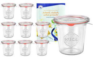 9er Set Weck Gläser 580ml Sturzgläser mit 9 Glasdeckeln, 9 Einkochringen und 18 Klammern