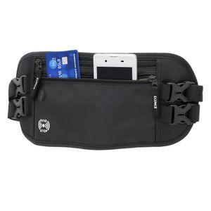 ECENCE Reise-Bauchtasche Hüfttasche flach mit RFID-Blocker klein dünn für Damen Herren Bag Wasser