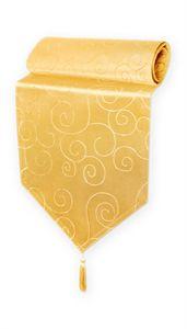 Tischläufer gelb 33x100 cm Damast Ornamente klassisch Tischdecke Läufer spitz zulaufend